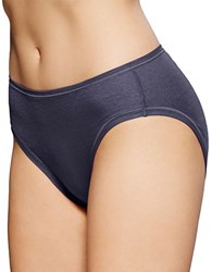 Fine Lines Pure Cotton Hi Cut Brief Panties Indigo