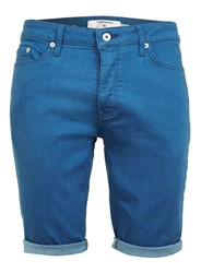 Topman Blue Stretch Skinny Denim Shorts