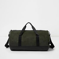 River Island Mensgreen Faux Suede Panel Holdall Bag