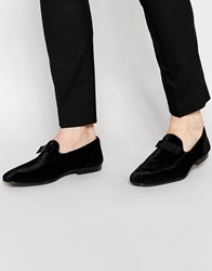 Asos Loafers In Black Velvet With Bow Detail