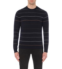 Paul Smith Fine Striped Knitted Jumper Navy