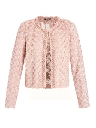 Vera Mont Beaded And Feathered Short Jacket Pink