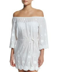 Miguelina Bree Embroidered Off The Shoulder Coverup Dress Pure White
