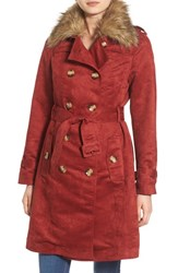 Steve Madden Women's Faux Suede Trench Coat With Faux Fur Collar Rusty Red