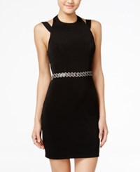 City Studios Juniors' Embellished Open Back Bodycon Dress Black