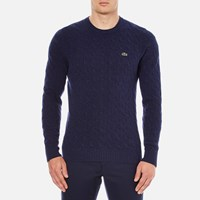 Lacoste Men's Crew Neck Cable Stitch Jumper Midnight Blue Chine