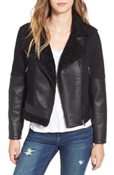 Blank Nyc Women's Blanknyc Faux Leather And Denim Moto Jacket With Faux Shearling Lining
