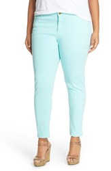Plus Size Women's Michael Michael Kors 'Izzy' Color Denim Crop Skinny Jeans Washed Turquoise
