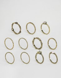Asos Pack Of 10 Etched Stone Ring Pack Burnished Gold