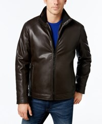 Calvin Klein Men's Faux Leather Faux Fur Lined Jacket Heritage Brown