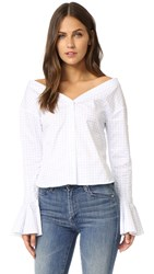 Jacquemus Cropped Blouse White Sky Blue Check