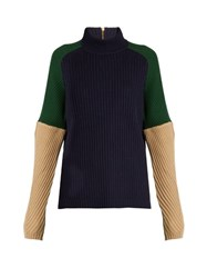 Muveil Ribbed Knit Wool Sweater Multi