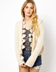 Manoush Boxy Cardigan With Tassle Trim Craie