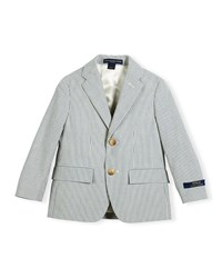 Ralph Lauren Childrenswear Polo I Striped Seersucker Jacket Blue Cream Blue Ivory Size 4 7 Girl's Size 6