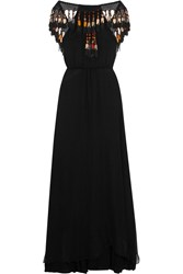 Celia D. Tasseled Silk Chiffon Maxi Dress Black