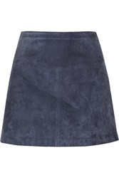 Burberry Suede Mini Skirt Blue