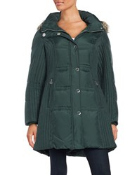 Anne Klein Faux Fur Trimmed Quilted Jacket Forest