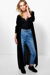 Boohoo Side Split Maxi Cardigan Black