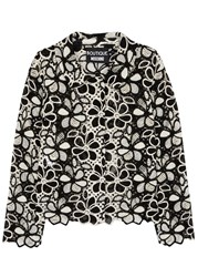 Boutique Moschino Monochrome Cropped Crochet Jacket Black And White