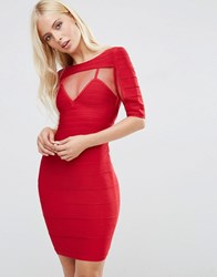 Forever Unique Anousha Short Sleeve Bandage Dress With Mesh Inserts Red