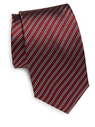 Yves Saint Laurent Two Tone Striped Silk Tie Red