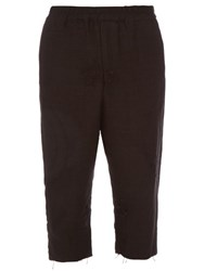 By Walid Roy Vintage Embroidered Linen Trousers Black