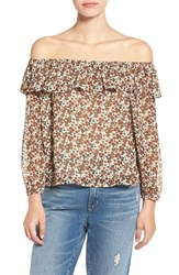 J.O.A. Women's Floral Print Ruffle Off The Shoulder Top Ivory Multi