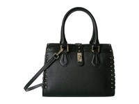 Calvin Klein Laiken Black Goat Satchel Black Gold Satchel Handbags