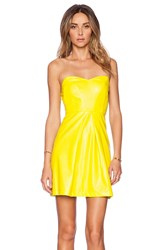 Ladakh Sweetheart Leatherette Dress Lemon