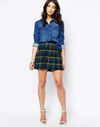 Noisy May Plaid Checked Mini Skirt Majolicablue