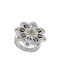 Lucky Brand Studded Flower Ring Two Tone
