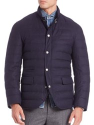 Brunello Cucinelli Wool Silk And Cashmere Blend Padded Jacket Navy