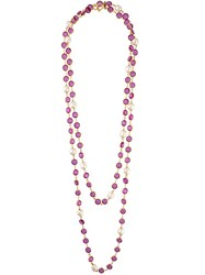 Chanel Vintage Sautoir Pearl Necklace Pink And Purple