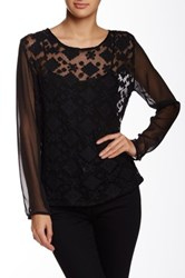 Angie Sheer Embroidered Long Sleeve Blouse Black