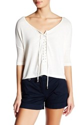 Poof Dolman Sleeve Lace Up Tee White