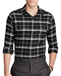 Polo Ralph Lauren Plaid Cotton Twill Regular Fit Button Down Work Shirt Black White