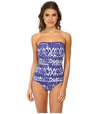 Tommy Bahama Tie Dye Bandeau One Piece Danubio Blue White Women's Swimsuits One Piece