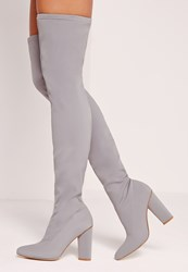 Missguided Pointed Toe Neoprene Over The Knee Boot Grey Grey