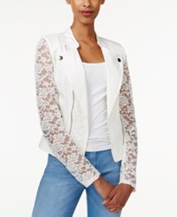 Material Girl Juniors' Lace Moto Jacket Egret