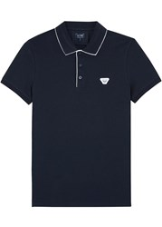 Armani Jeans Navy Stretch Pique Cotton Polo Shirt