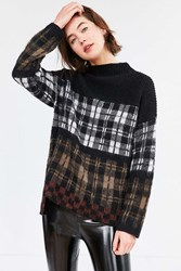 Silence And Noise Gunner Plaid Sweater Black Multi