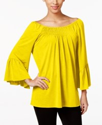 Cable And Gauge Off The Shoulder Peasant Top Lemonzest