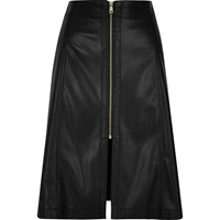 River Island Womens Black Leather Look A Line Midi Skirt