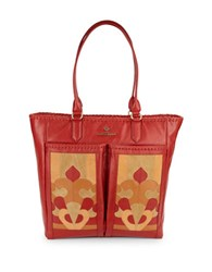 Nanette Lepore Echo Suede And Leather Tote Flame
