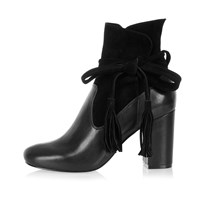 River Island Womens Black Suede Tassel Heeled Ankle Boots