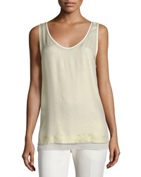 Foundrae Layered Metallic Silk Tank Gold Cream