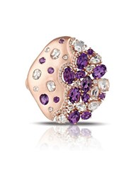Marco Moore 14K Rose Gold Amethyst And Diamond Cluster Ring