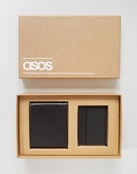 Asos Gift Set With Leather Wallet And Card Holder Black