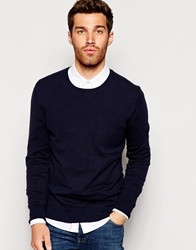 United Colors Of Benetton Cotton Jumper With Crew Neck Navy