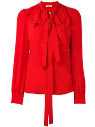 Sonia Rykiel 'Jabot' Neck Tie Blouse Red